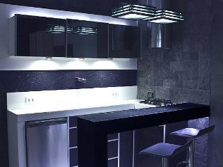 Open Bar Kitchen - Mini bar, stove, hood and granite countertop. Sidewall rough granite