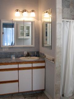 Large bathroom includes slate shower and closet