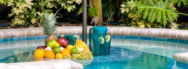 Swim-up tiki table - no reservations required