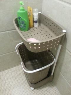 laundry basket in shower