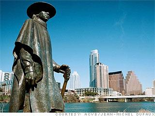 Walk to Stevie Ray Vaughan  statue