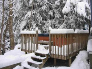 Hot tub in winter, overlooking Little Brook