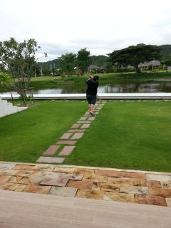 Golf swing by the lake