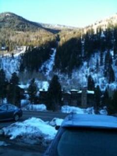 Frozen waterfall from shuttle stop