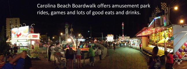 AMusement rides, food and drinks on the boardwalk