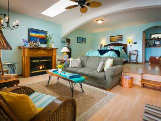 A bright open plan w/sky lights cozy gas fireplace & raised bed enjoy the views Warm duvets too!