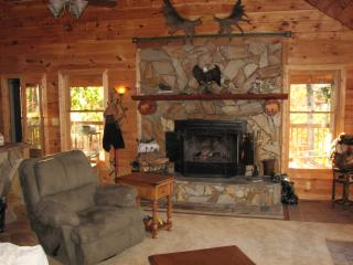Real wood burning fireplace with beautiful hand laid stone hearth