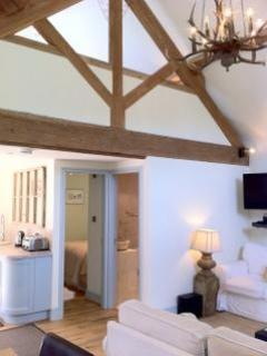 Double height vaulted ceiling looking up to the mezzanine bedroom