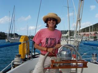 Your hostess Max at her day job.  Sailing to St. John for snorkeling, lunch,  fun and laughter