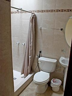 Visitors' full bathroom with shower and telephone shower.