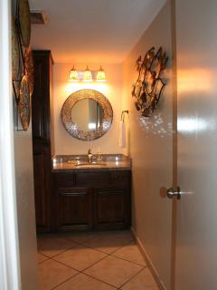 Bathroom vanity, granite counter, linen cabinet