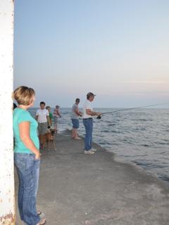 Fishing off Frankfort Pier