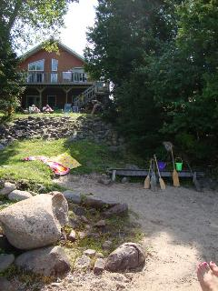 Picture is from the beach in front of the house, it overlooks the beach area and the fire pit area up at the house deck.