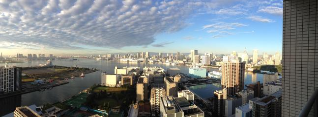 This is the actual view from our balcony overlooking beautiful Tokyo Bay