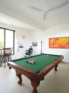 Mesa de billar. Tenemos pingpong, basket, juegos de mesa, futbol, películas
