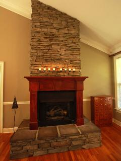 Gas-Fireplace with beautiful stonework
