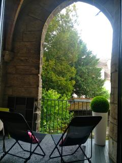 covered gothic style balcony, seating area for 6, sunshine all afternoon