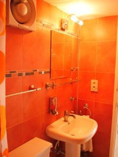 Terracotta bathroom, with extractor fan