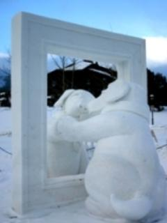 Snow Scuplture - Looking into the Mirror