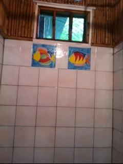 large native cane and tiled shower