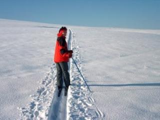 Cross-country skiing in Beskydy mountains..