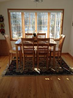 HARDWOOD TABLE WITH SEATING FOR SIX