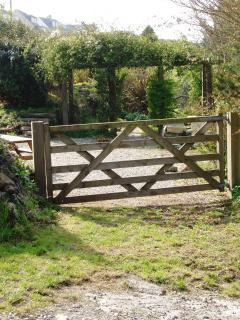 Gate to garden across the lane