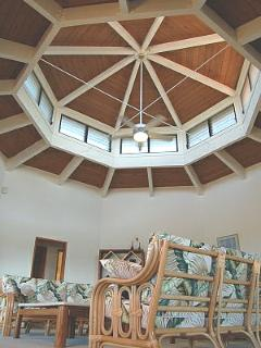 Large custom living area with vaulted ceilings