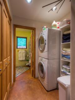 Powder Bathroom and full size washing machine and dryer