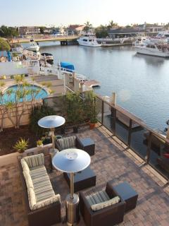 Bird's eye view of the patio overlooking the harbour