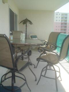 Large deck with table.