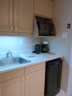 The French room has a kitchenette excellent for long term guests