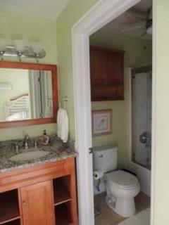 Guestroom renovated ensuite with new tub/shower and granite countertop