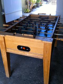Foosball table in carport