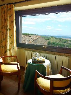 View from bedroom - large window overlooking the Tiber Valley and the Umbrian Mountains