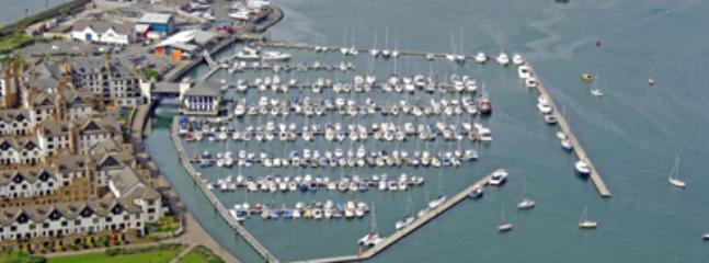 Aerial view of the village green and the marina. Apartment is on the far left, directly on the green