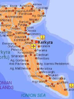 Map of Corfu (Kerkyra) Greek Island Paleocastritsa on North West coast