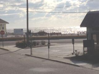 view of beach and ocean from outside of building