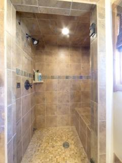Custom tiled steam shower