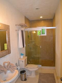 Master bathroom with walk-in shower and hand carved mirror.