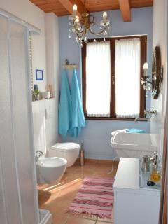 The rommy bathroom with shower