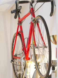 Red bike in bedroom