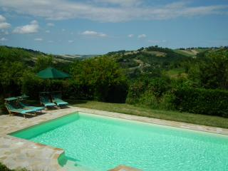 The comfortable pool area and countryside beyond