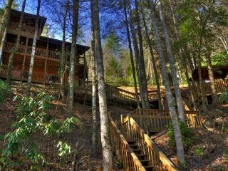 Above the River- 2BR/2BA- CABIN WITH TOCCOA RIVER ACCESS, SLEEPS 6, DECK ACCESS FROM EACH BEDROOM, GAZEBO OVERLOOKING THE WATER, HOT TUB, FOOSBALL, PING PONG, GAS LOG FIREPLACE AND WIFI! STARTING AT $135 A NIGHT!, Blue Ridge