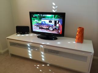 TV with Telstra T-Box (Foxtel Starter Pack), Blu Ray Player, iPhone Docking Station & WiFi