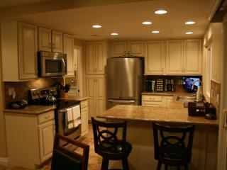 The kitchen has stainless appliances, granite countertops and microwave.