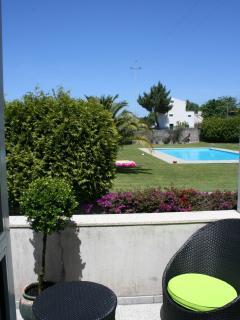 Balcony with pool views