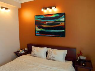 The name Copper Residence is inspired by the vibrant Copper Colour of the bedroom wall