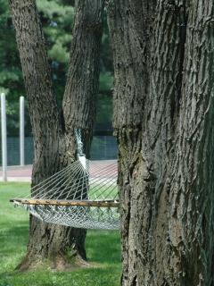 Relax in the hammock and watch a game of tennis
