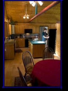 Well- equipped, large kitchen with enough room for everyone to help prepare a gourmet meal.